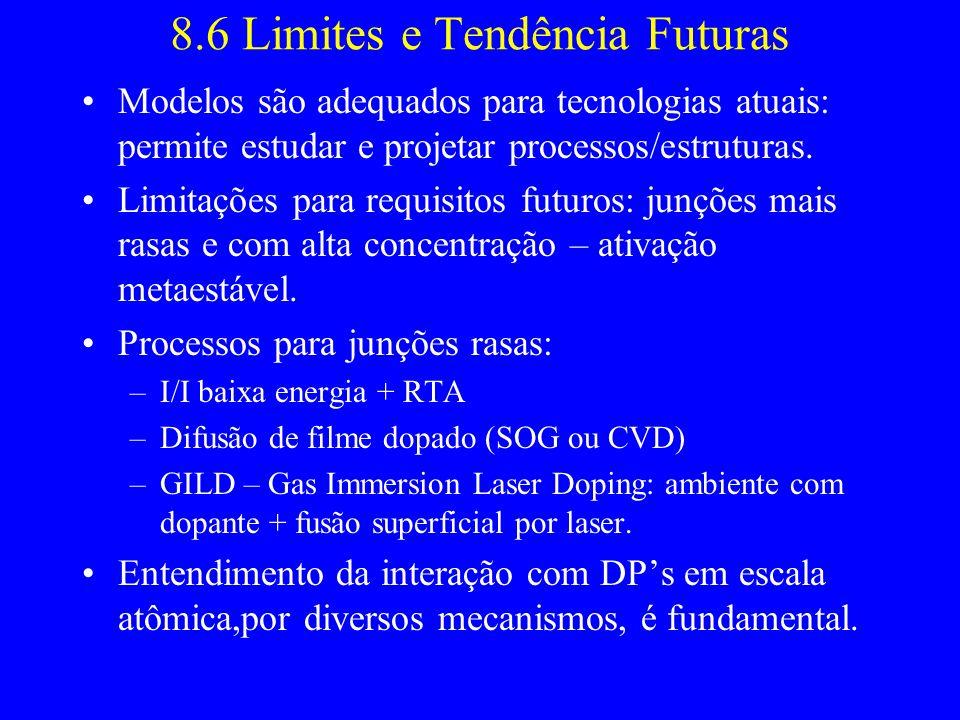 8.6 Limites e Tendência Futuras Modelos são adequados para tecnologias atuais: permite estudar e projetar processos/estruturas. Limitações para requis
