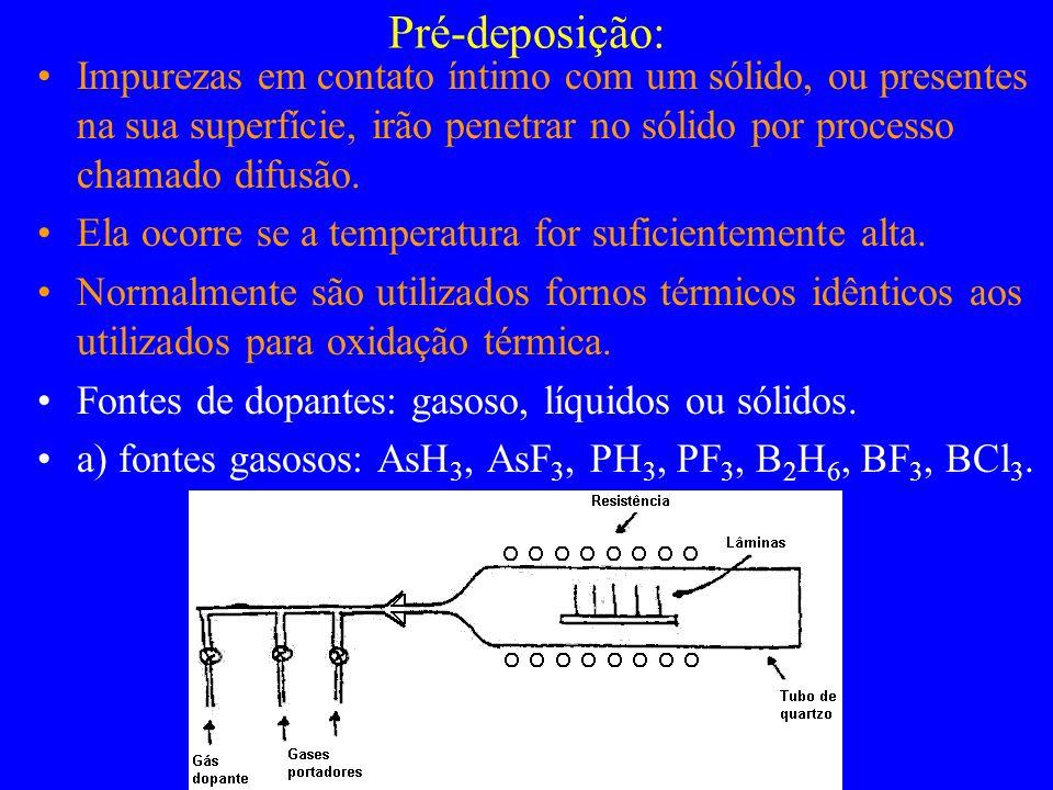 Pré-deposição: Impurezas em contato íntimo com um sólido, ou presentes na sua superfície, irão penetrar no sólido por processo chamado difusão.