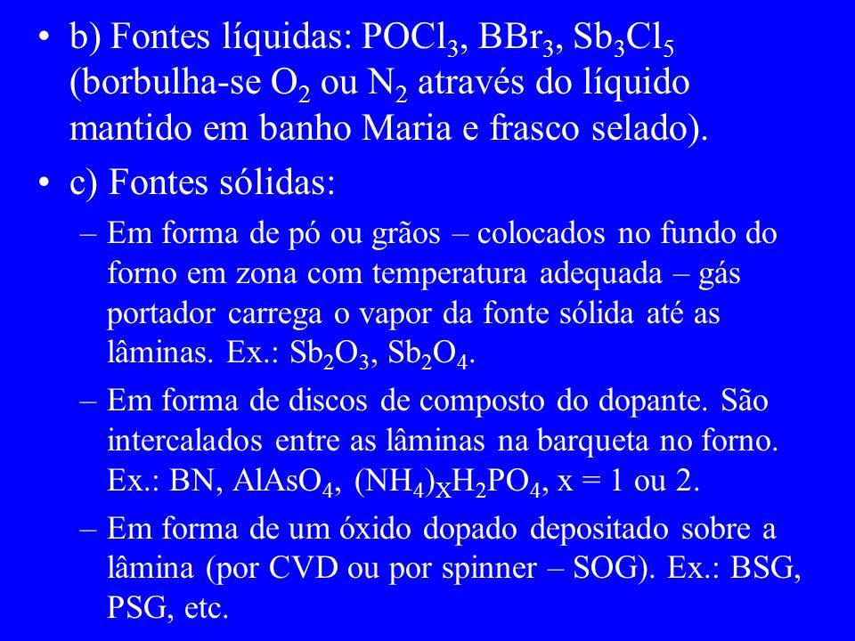 b) Fontes líquidas: POCl 3, BBr 3, Sb 3 Cl 5 (borbulha-se O 2 ou N 2 através do líquido mantido em banho Maria e frasco selado). c) Fontes sólidas: –E