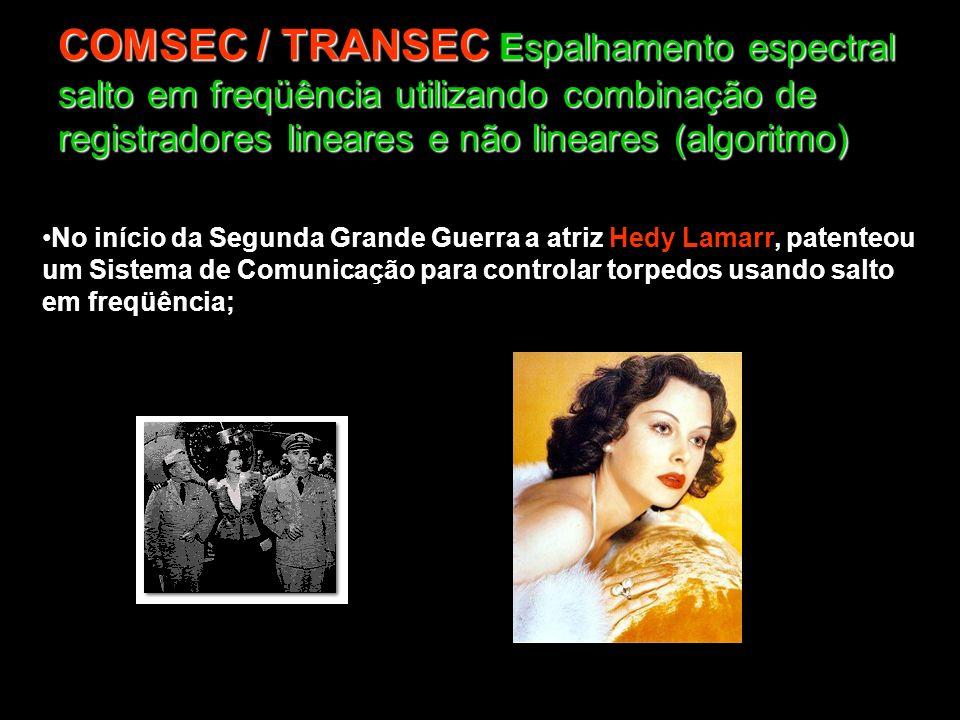 COMSEC / TRANSEC Espalhamento espectral salto em freqüência utilizando combinação de registradores lineares e não lineares (algoritmo) No início da Se