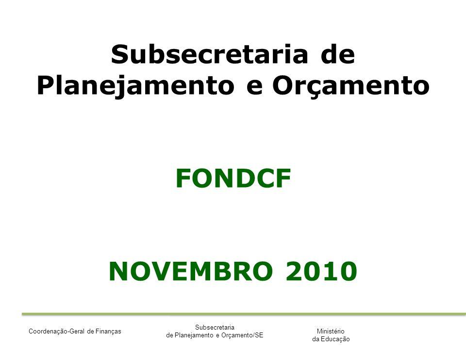 Ministério da Educação Subsecretaria de Planejamento e Orçamento/SE Coordenação-Geral de Finanças Subsecretaria de Planejamento e Orçamento FONDCF NOVEMBRO 2010