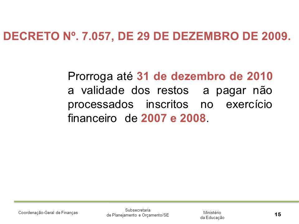 Ministério da Educação Subsecretaria de Planejamento e Orçamento/SE Coordenação-Geral de Finanças 15 DECRETO Nº.