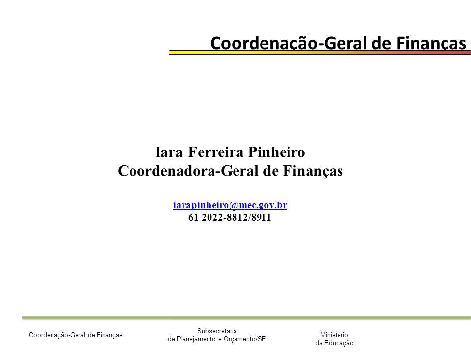 Ministério da Educação Subsecretaria de Planejamento e Orçamento/SE Coordenação-Geral de Finanças Iara Ferreira Pinheiro Coordenadora-Geral de Finanças iarapinheiro@mec.gov.br 61 2022-8812/8911