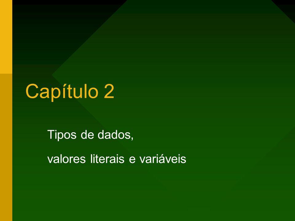 2Capítulo 2 – Tipos de dados, valores literais e variáveis Tipos de dados, valores literais e variáveis Exibindo dados na tela Variáveis Tipos primitivos Valores literais Type casting