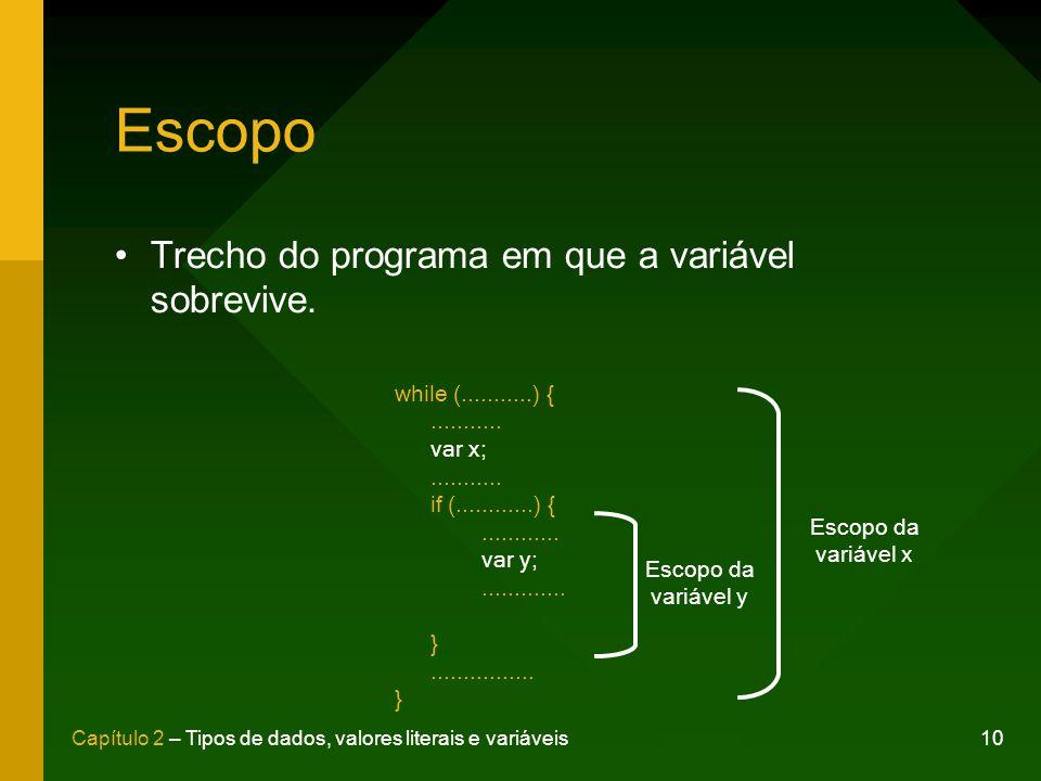 10Capítulo 2 – Tipos de dados, valores literais e variáveis Escopo Trecho do programa em que a variável sobrevive. while (...........) {........... va