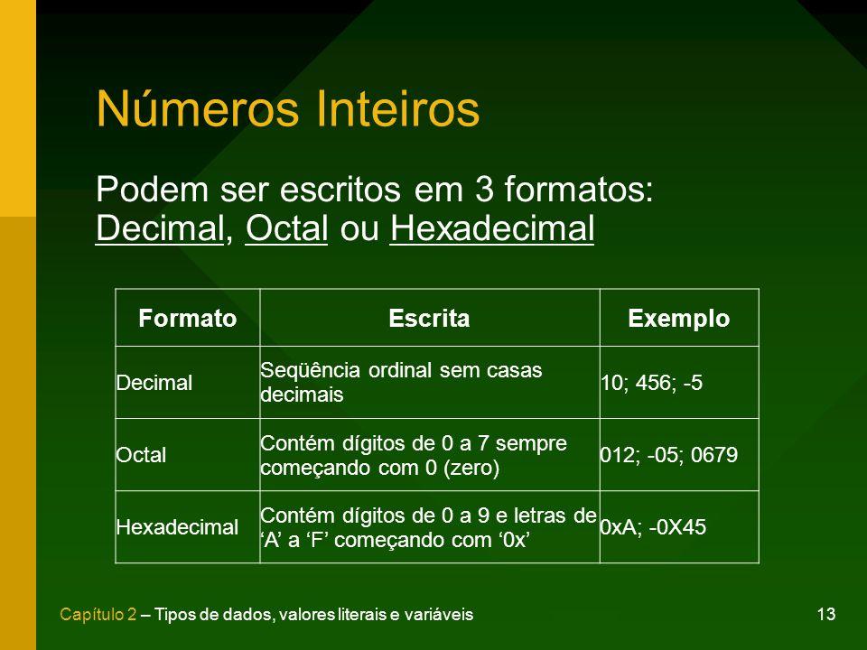 13Capítulo 2 – Tipos de dados, valores literais e variáveis Números Inteiros Podem ser escritos em 3 formatos: Decimal, Octal ou Hexadecimal FormatoEscritaExemplo Decimal Seqüência ordinal sem casas decimais 10; 456; -5 Octal Contém dígitos de 0 a 7 sempre começando com 0 (zero) 012; -05; 0679 Hexadecimal Contém dígitos de 0 a 9 e letras de A a F começando com 0x 0xA; -0X45