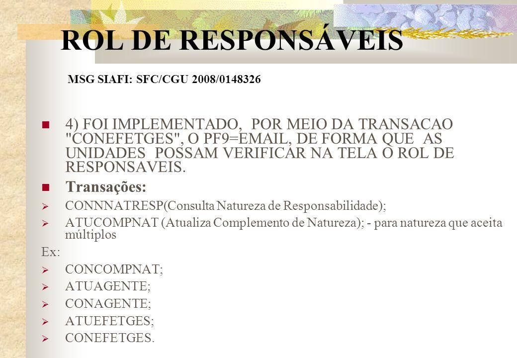 ROL DE RESPONSÁVEIS MSG SIAFI: SFC/CGU 2008/0148326 4) FOI IMPLEMENTADO, POR MEIO DA TRANSACAO