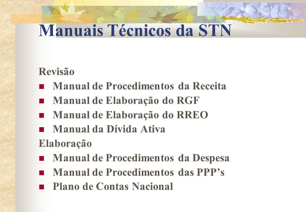Manuais Técnicos da STN Revisão Manual de Procedimentos da Receita Manual de Elaboração do RGF Manual de Elaboração do RREO Manual da Dívida Ativa Ela