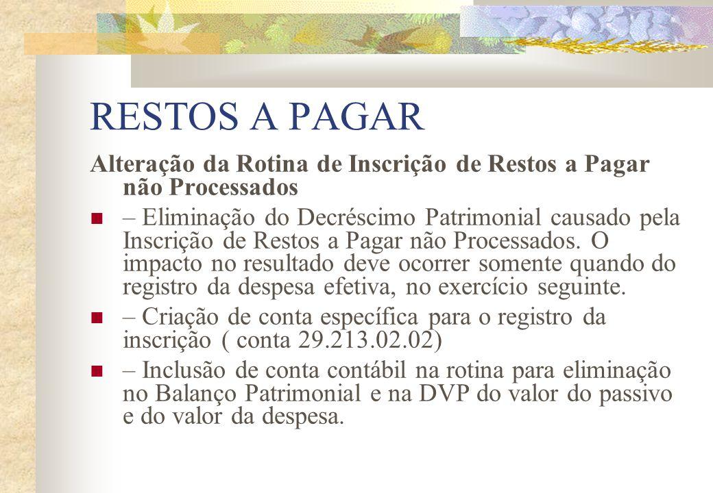 RESTOS A PAGAR Alteração da Rotina de Inscrição de Restos a Pagar não Processados – Eliminação do Decréscimo Patrimonial causado pela Inscrição de Res