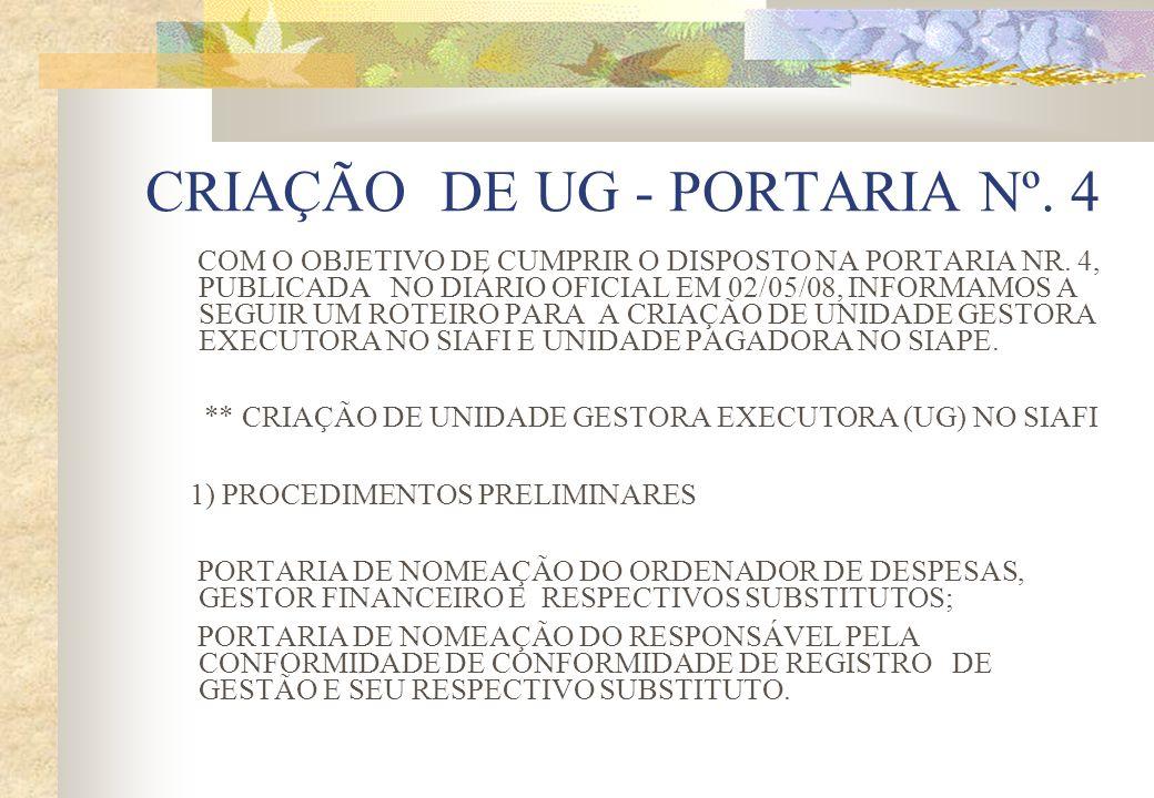 CRIAÇÃO DE UG - PORTARIA Nº. 4 COM O OBJETIVO DE CUMPRIR O DISPOSTO NA PORTARIA NR. 4, PUBLICADA NO DIÁRIO OFICIAL EM 02/05/08, INFORMAMOS A SEGUIR UM