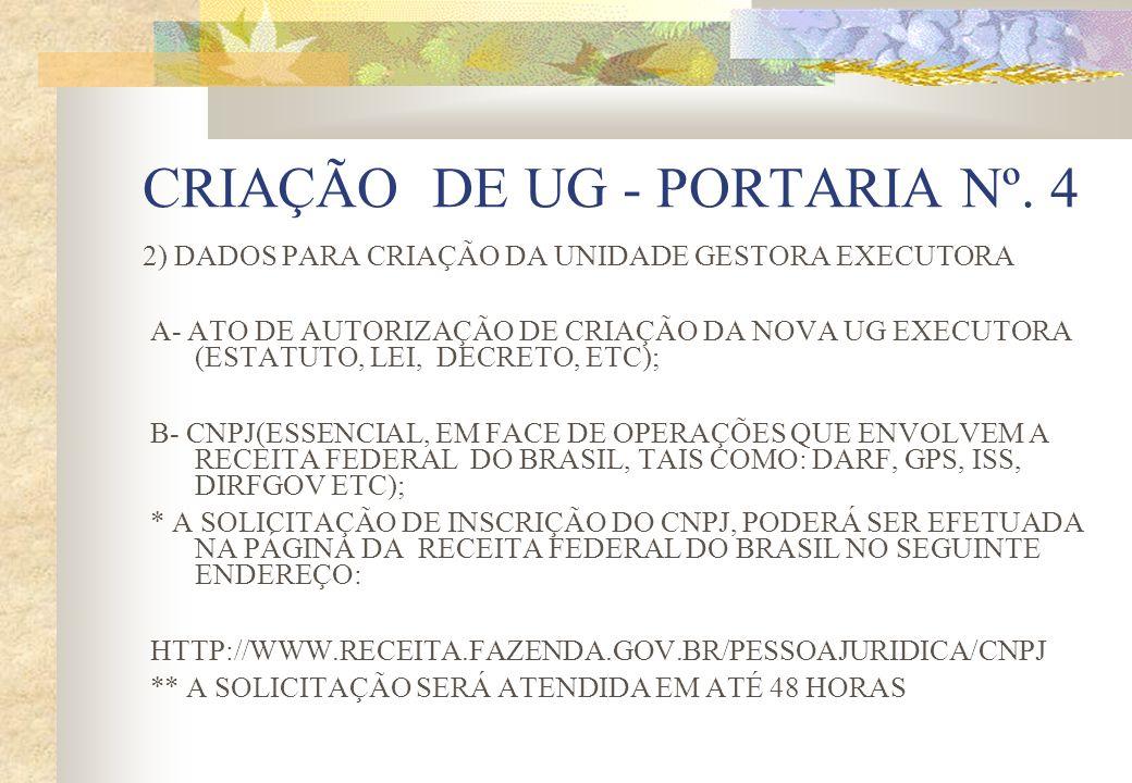 CRIAÇÃO DE UG - PORTARIA Nº. 4 2) DADOS PARA CRIAÇÃO DA UNIDADE GESTORA EXECUTORA A- ATO DE AUTORIZAÇÃO DE CRIAÇÃO DA NOVA UG EXECUTORA (ESTATUTO, LEI