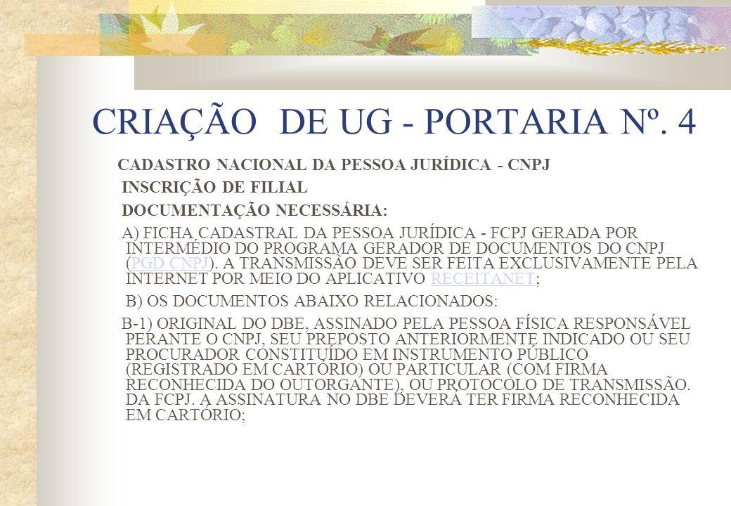 CRIAÇÃO DE UG - PORTARIA Nº. 4 CADASTRO NACIONAL DA PESSOA JURÍDICA - CNPJ INSCRIÇÃO DE FILIAL DOCUMENTAÇÃO NECESSÁRIA: A) FICHA CADASTRAL DA PESSOA J