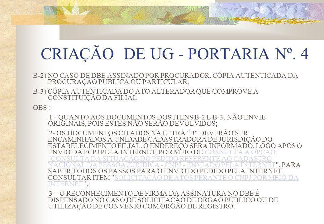 CRIAÇÃO DE UG - PORTARIA Nº. 4 B-2) NO CASO DE DBE ASSINADO POR PROCURADOR, CÓPIA AUTENTICADA DA PROCURAÇÃO PÚBLICA OU PARTICULAR; B-3) CÓPIA AUTENTIC
