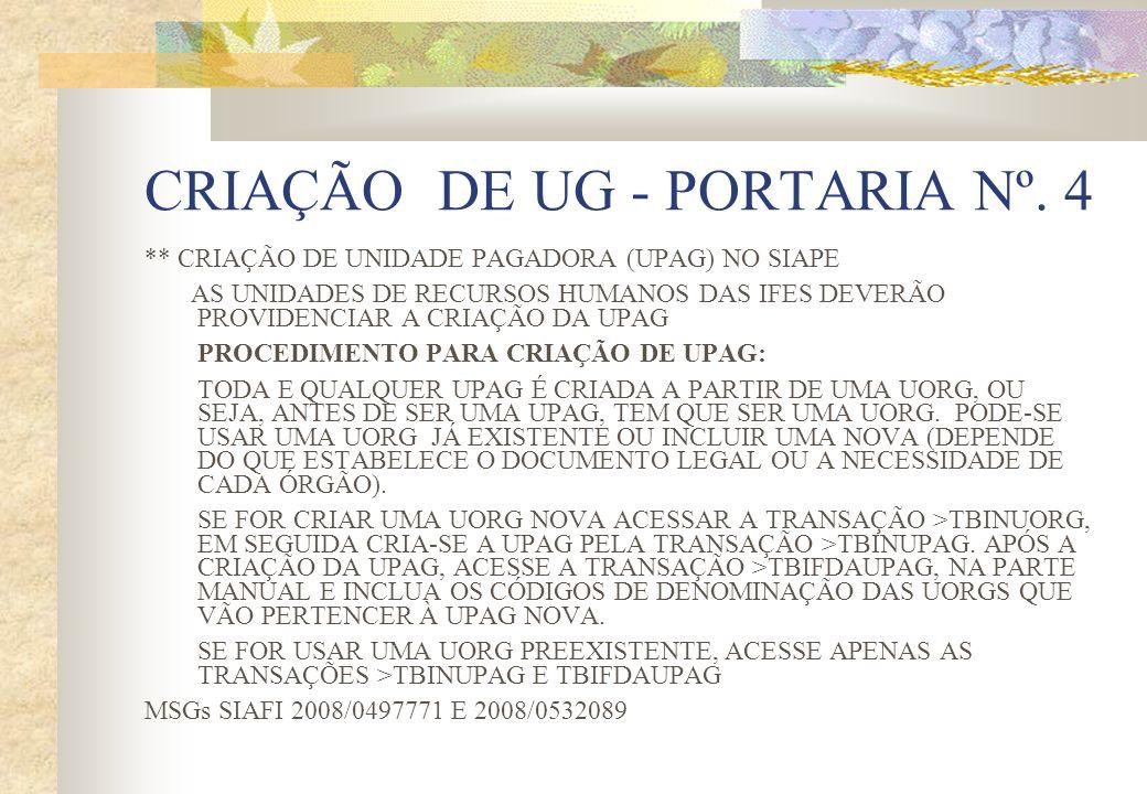 CRIAÇÃO DE UG - PORTARIA Nº. 4 ** CRIAÇÃO DE UNIDADE PAGADORA (UPAG) NO SIAPE AS UNIDADES DE RECURSOS HUMANOS DAS IFES DEVERÃO PROVIDENCIAR A CRIAÇÃO