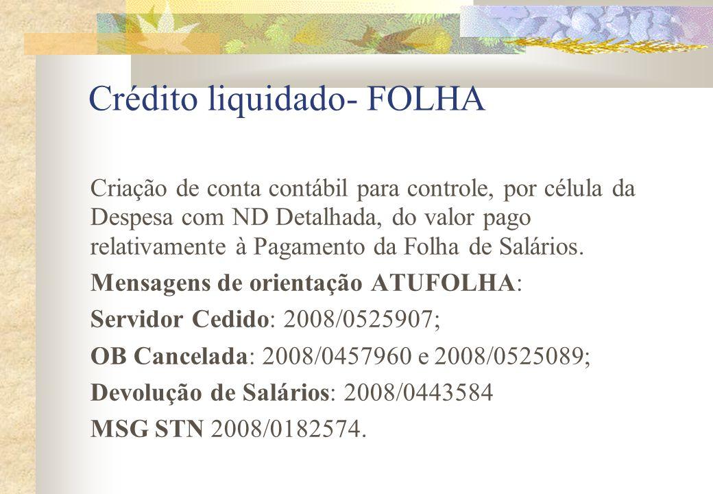 Crédito liquidado- FOLHA Criação de conta contábil para controle, por célula da Despesa com ND Detalhada, do valor pago relativamente à Pagamento da F
