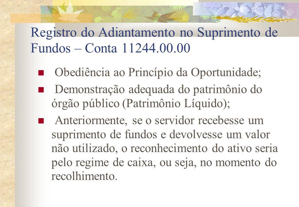 Registro do Adiantamento no Suprimento de Fundos – Conta 11244.00.00 Obediência ao Princípio da Oportunidade; Demonstração adequada do patrimônio do ó