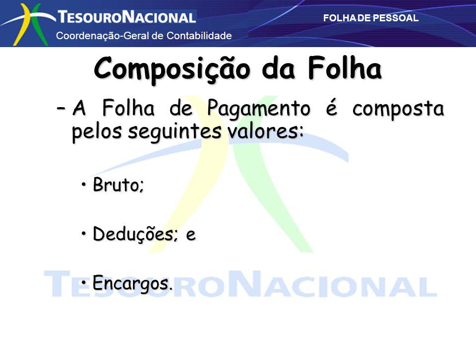 Coordenação-Geral de Contabilidade FOLHA DE PESSOAL Composição da Folha –A Folha de Pagamento é composta pelos seguintes valores: Bruto;Bruto; Deduçõe