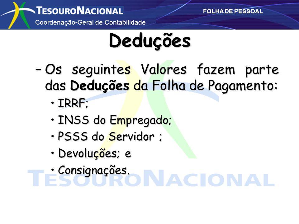 Coordenação-Geral de Contabilidade FOLHA DE PESSOAL Deduções –Os seguintes Valores fazem parte das Deduções da Folha de Pagamento: IRRF;IRRF; INSS do