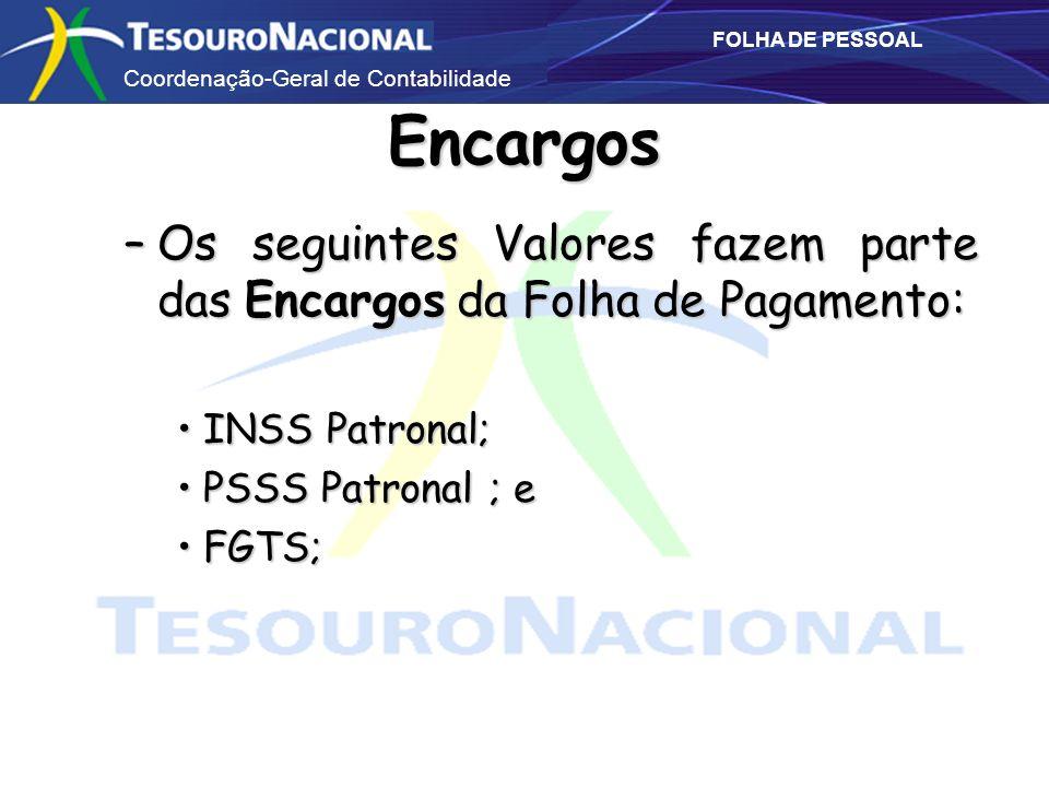 Coordenação-Geral de Contabilidade FOLHA DE PESSOAL Encargos –Os seguintes Valores fazem parte das Encargos da Folha de Pagamento: INSS Patronal;INSS