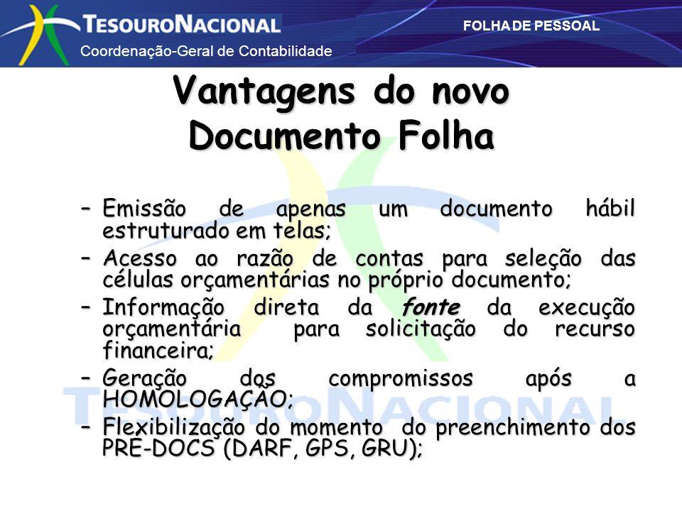 Coordenação-Geral de Contabilidade FOLHA DE PESSOAL Vantagens do novo Documento Folha –Emissão de apenas um documento hábil estruturado em telas; –Ace