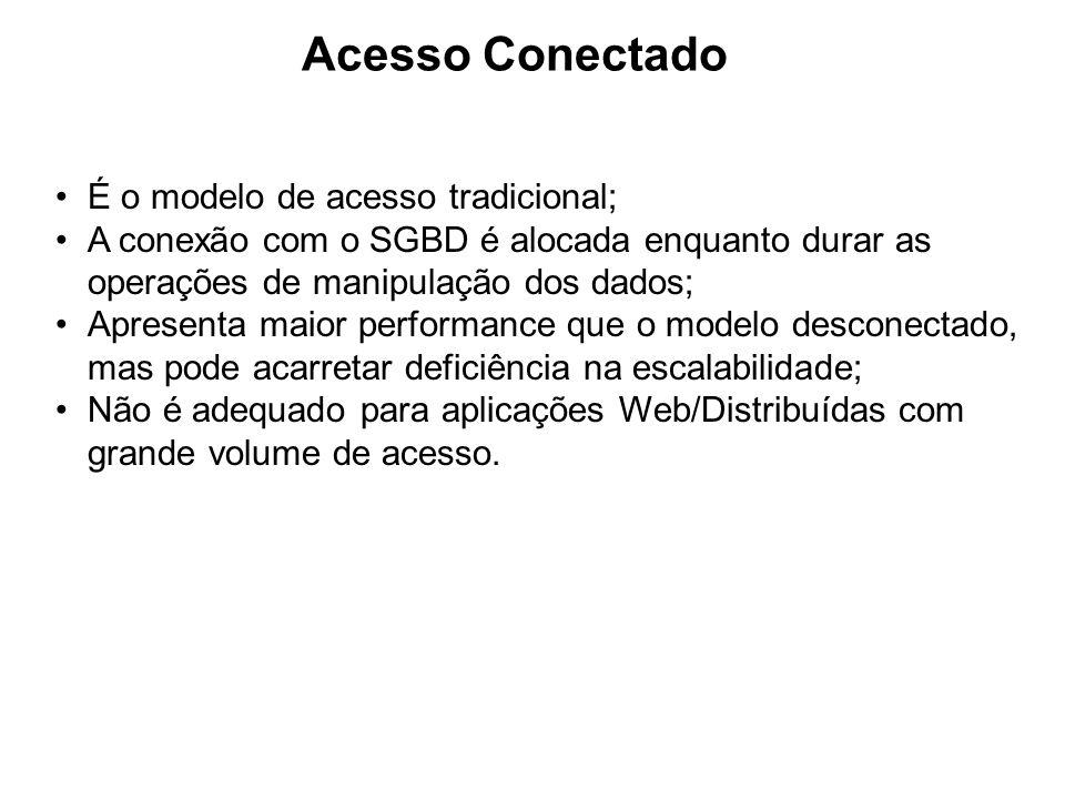 Acesso Conectado É o modelo de acesso tradicional; A conexão com o SGBD é alocada enquanto durar as operações de manipulação dos dados; Apresenta maio