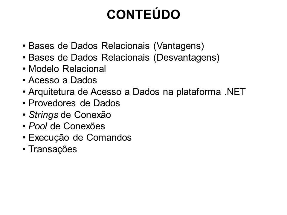 CONTEÚDO Bases de Dados Relacionais (Vantagens) Bases de Dados Relacionais (Desvantagens) Modelo Relacional Acesso a Dados Arquitetura de Acesso a Dad