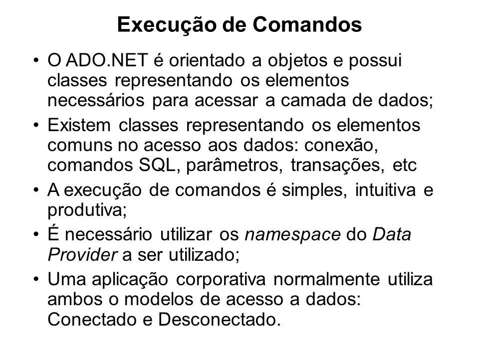Execução de Comandos O ADO.NET é orientado a objetos e possui classes representando os elementos necessários para acessar a camada de dados; Existem c