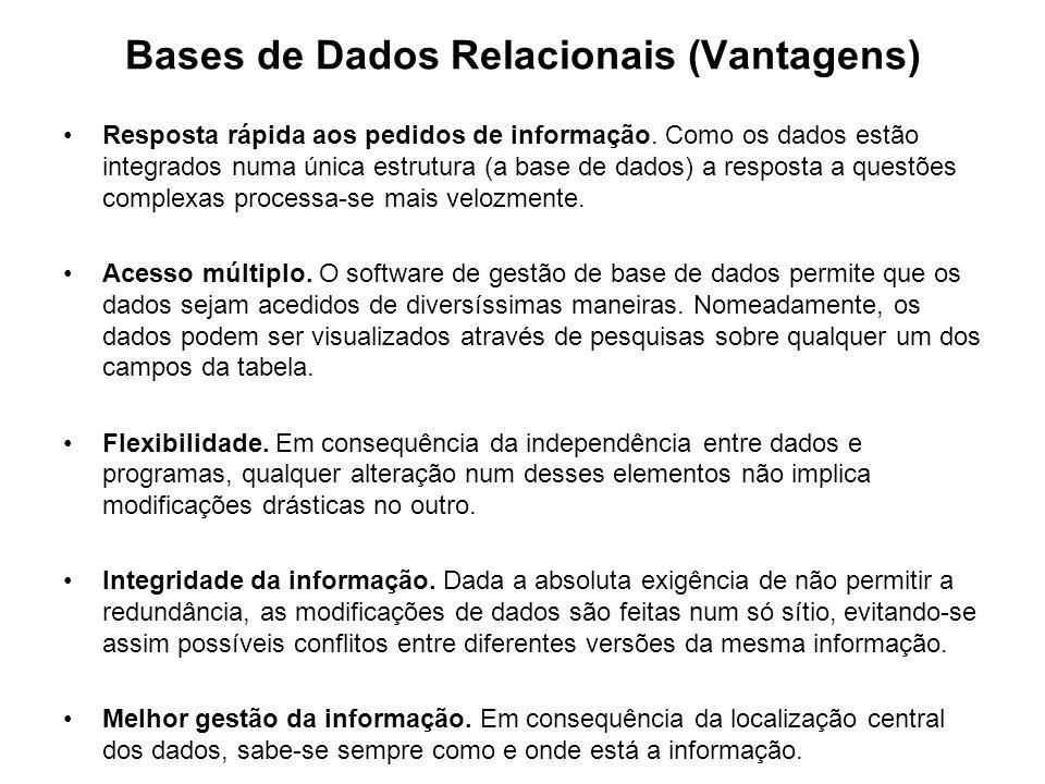 Bases de Dados Relacionais (Vantagens) Resposta rápida aos pedidos de informação. Como os dados estão integrados numa única estrutura (a base de dados