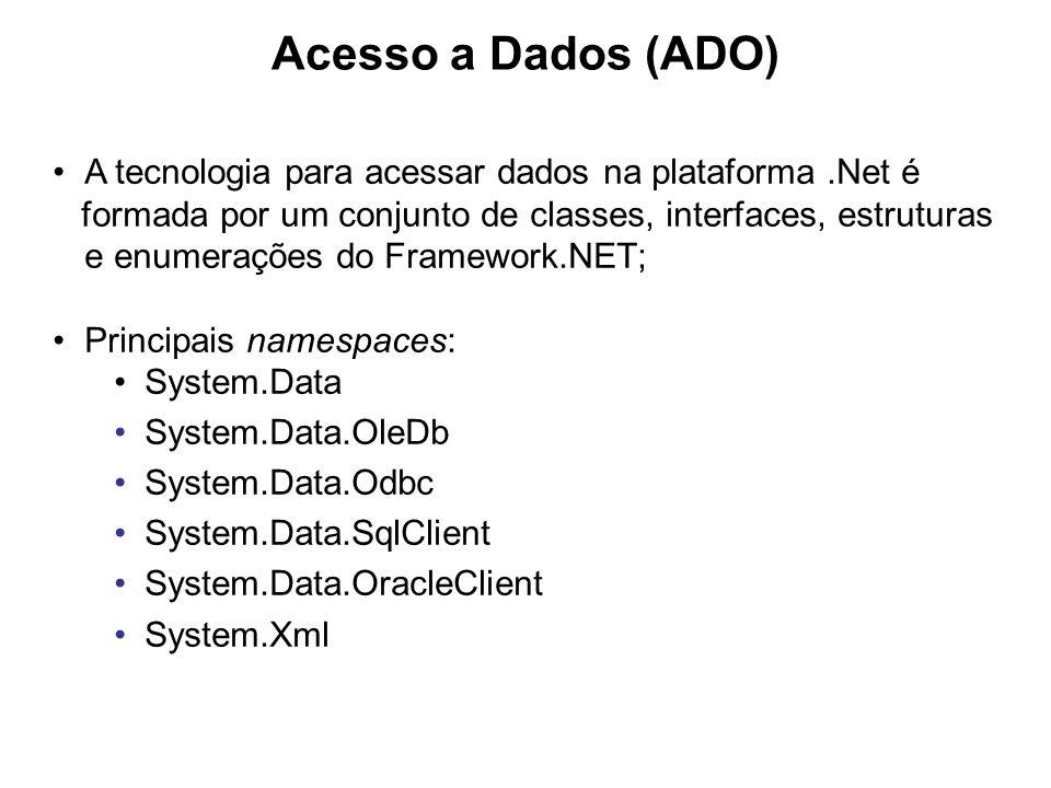 Arquitetura da plataforma.NET A ADO.Net foi projetado para permitir versatilidade no acesso aos dados e centrada na representação dos dados no formato XML; A sua arquitetura permite dois tipos de acessos aos dados: Conectado e Desconectado; Os provedores de dados (Data Providers) são responsáveis por efetivamente acessar a fonte de dados, quer seja um banco de dados relacional, uma planilha do excel, um arquivo texto, uma classe de negócio, um webservice, etc.