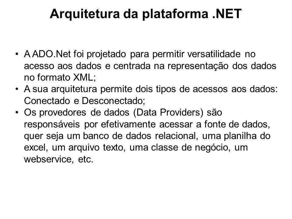 Arquitetura da plataforma.NET API ADO.NET OLE DB.NET Data Provider OLE DB.NET Data Provider Fontes OLEDB (SQL Server 6.5) Outros Data Providers Outros Data Providers Oracle, Interbase, DB2, MySQL, etc SQL Server.NET Data Provider SQL Server.NET Data Provider SQL Server 7.0 (e posterior)