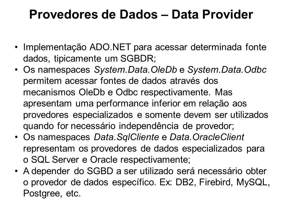 Provedores de Dados – Data Provider Componentes do Provedor de Dado XxxConnection – SqlConnection, etc Xxx Transaction – SqlTransaction, etc Xxx Exception – SqlException, etc Xxx Error – SqlError, etc XxxCommand –SqlCommand, etc Xxx Parameter –SqlParameter, etc XxxDataReader –SqlDataReader, etc XxxDataAdapter –SqlDataAdapter, etc XxxPermission –SqlClientPermission, etc