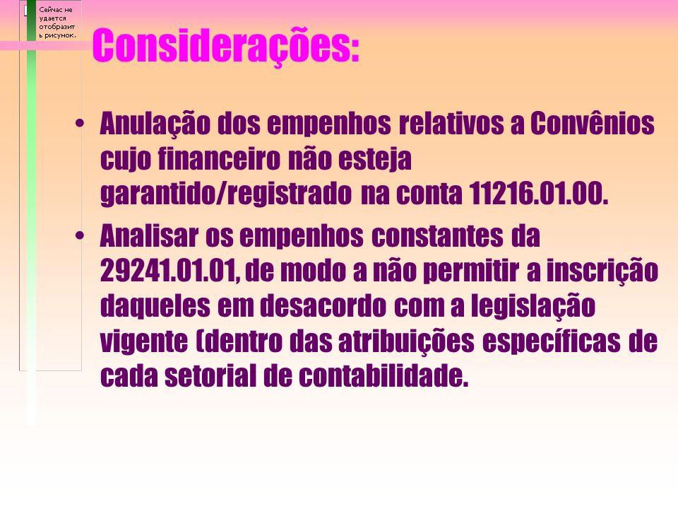 Considerações: Registro dos documentos comprobatórios de atos e fatos das gestões financeira, orçamentária e patrimonial. Devolução, à concedente, dos