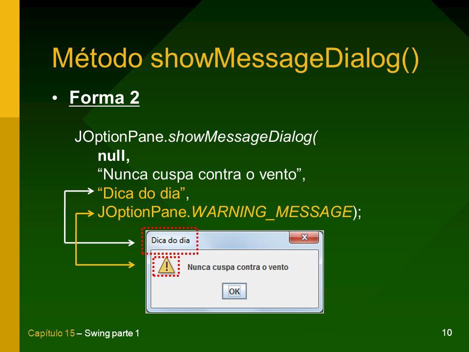10 Capítulo 15 – Swing parte 1 Método showMessageDialog() Forma 2 JOptionPane.showMessageDialog( null, Nunca cuspa contra o vento, Dica do dia, JOptio