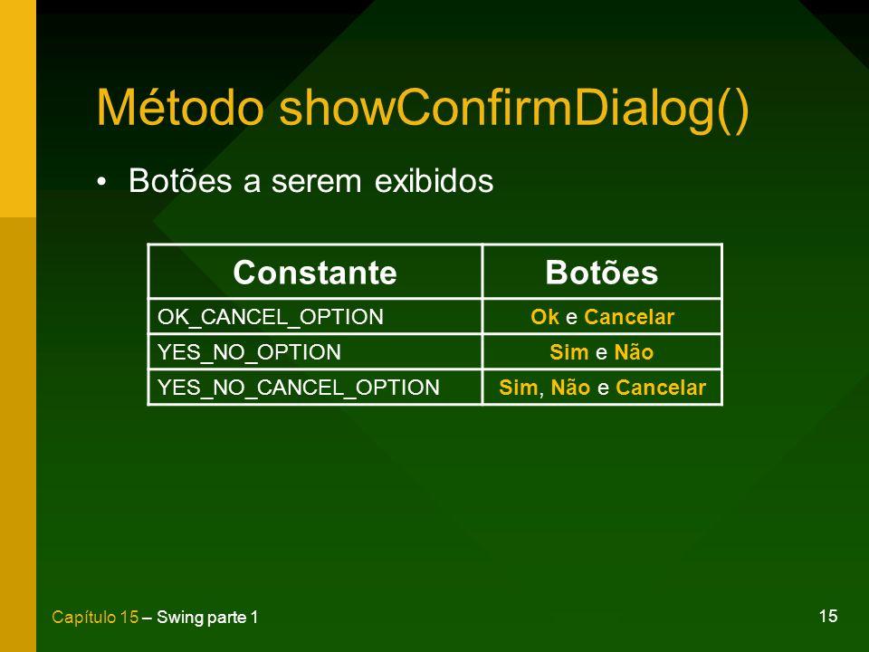 15 Capítulo 15 – Swing parte 1 Método showConfirmDialog() ConstanteBotões OK_CANCEL_OPTIONOk e Cancelar YES_NO_OPTIONSim e Não YES_NO_CANCEL_OPTIONSim