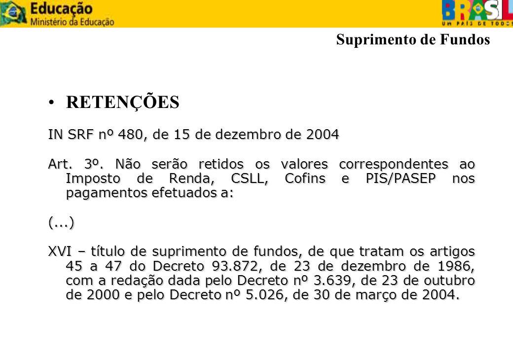 RETENÇÕES IN SRF nº 480, de 15 de dezembro de 2004 Art. 3º. Não serão retidos os valores correspondentes ao Imposto de Renda, CSLL, Cofins e PIS/PASEP