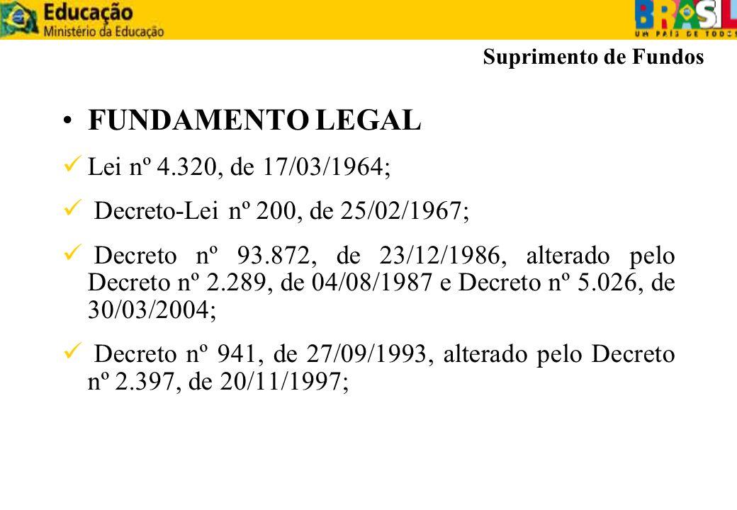 FUNDAMENTO LEGAL Lei nº 4.320, de 17/03/1964; Decreto-Lei nº 200, de 25/02/1967; Decreto nº 93.872, de 23/12/1986, alterado pelo Decreto nº 2.289, de