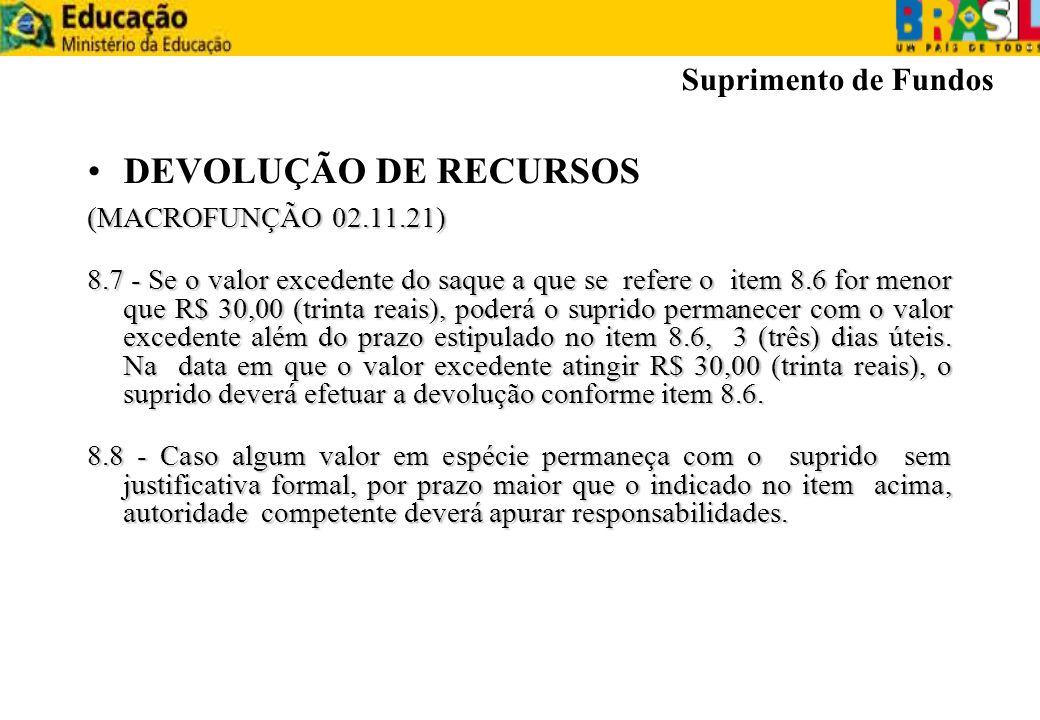 DEVOLUÇÃO DE RECURSOS (MACROFUNÇÃO 02.11.21) 8.7 - Se o valor excedente do saque a que se refere o item 8.6 for menor que R$ 30,00 (trinta reais), pod
