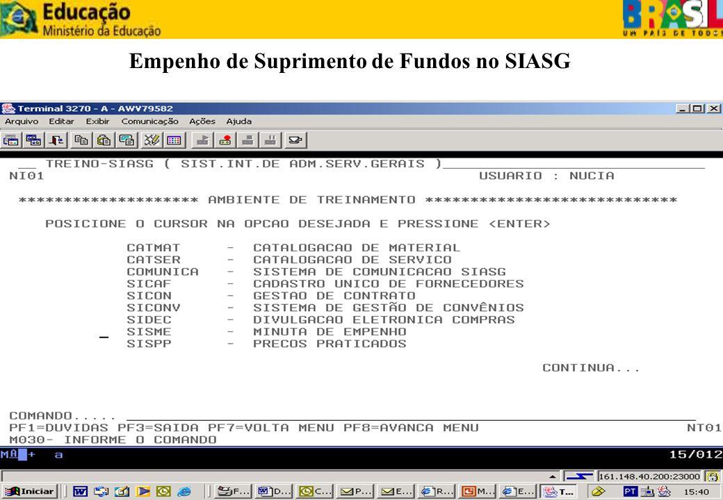 Empenho de Suprimento de Fundos no SIASG
