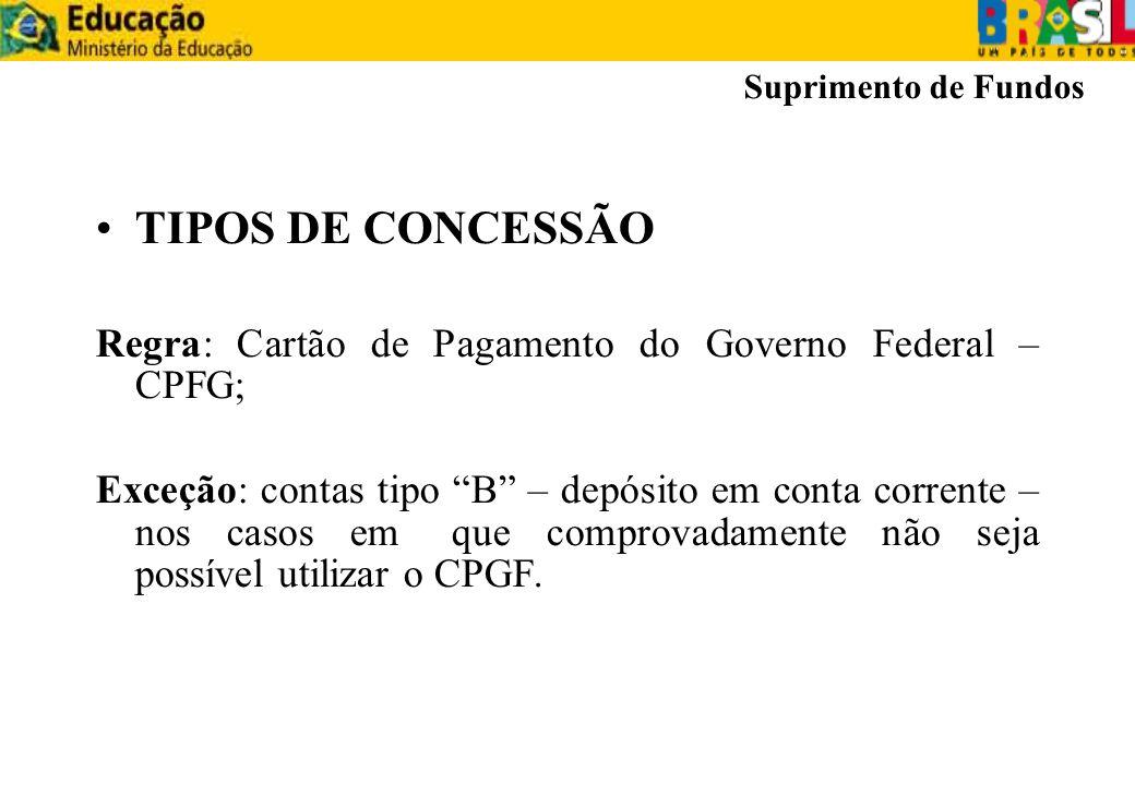 TIPOS DE CONCESSÃO Regra: Cartão de Pagamento do Governo Federal – CPFG; Exceção: contas tipo B – depósito em conta corrente – nos casos em que compro