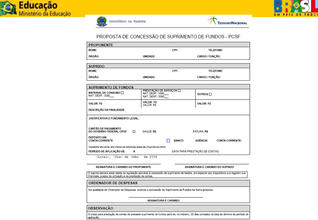 PROPOSTA - CARTÃO O Ordenador de Despesa deve procurar a agência do Banco do Brasil, de relacionamento da Unidade Gestora, para formalizar a adesão: I – adesão da UG ao Cartão – formulário Proposta de Adesão; II – cadastramento da(s) subdivisão(ões) hierárquica(s) da UG – formulário Cadastro de Centro de Custo; III – cadastramento do(s) portador(s) autorizado(s) – formulário Cadastro de Portador; IV – adesão ao *AASP – Auto – Atendimento Setor Público (ferramenta de gestão do cartão).
