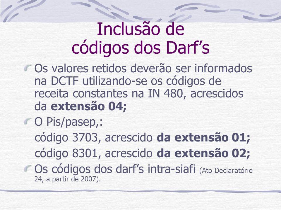 Inclusão de códigos dos Darfs Os valores retidos deverão ser informados na DCTF utilizando-se os códigos de receita constantes na IN 480, acrescidos da extensão 04; O Pis/pasep,: código 3703, acrescido da extensão 01; código 8301, acrescido da extensão 02; Os códigos dos darfs intra-siafi (Ato Declaratório 24, a partir de 2007).