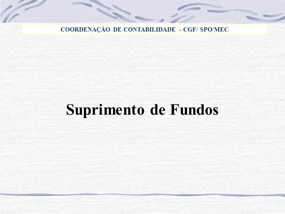 Suprimento de Fundos COORDENAÇÃO DE CONTABILIDADE – CGF/ SPO/MEC