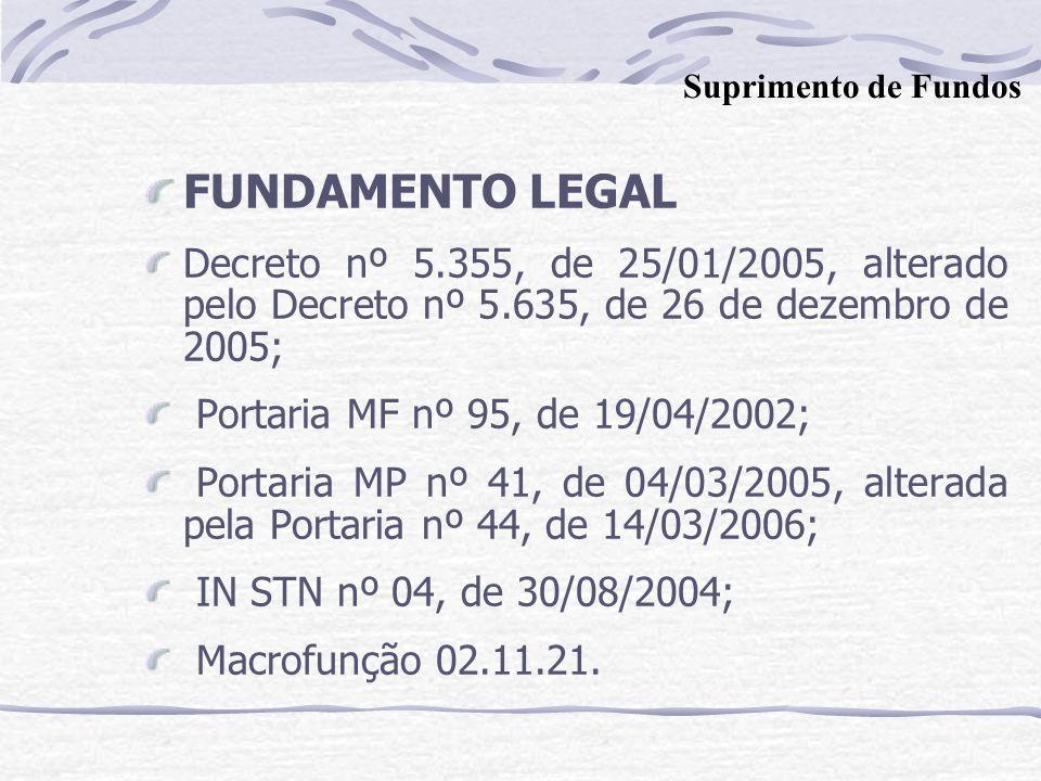 FUNDAMENTO LEGAL Decreto nº 5.355, de 25/01/2005, alterado pelo Decreto nº 5.635, de 26 de dezembro de 2005; Portaria MF nº 95, de 19/04/2002; Portaria MP nº 41, de 04/03/2005, alterada pela Portaria nº 44, de 14/03/2006; IN STN nº 04, de 30/08/2004; Macrofunção 02.11.21.