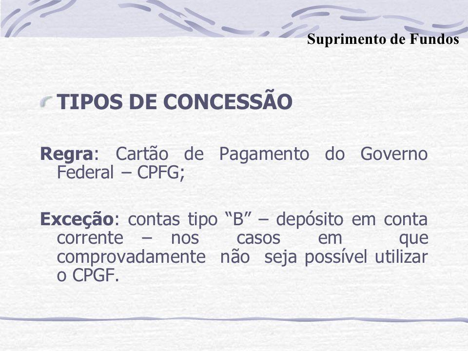 TIPOS DE CONCESSÃO Regra: Cartão de Pagamento do Governo Federal – CPFG; Exceção: contas tipo B – depósito em conta corrente – nos casos em que comprovadamente não seja possível utilizar o CPGF.