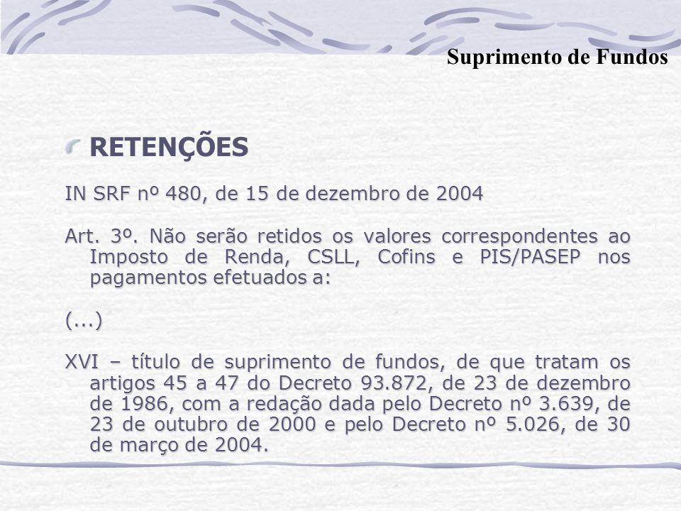 RETENÇÕES IN SRF nº 480, de 15 de dezembro de 2004 Art.