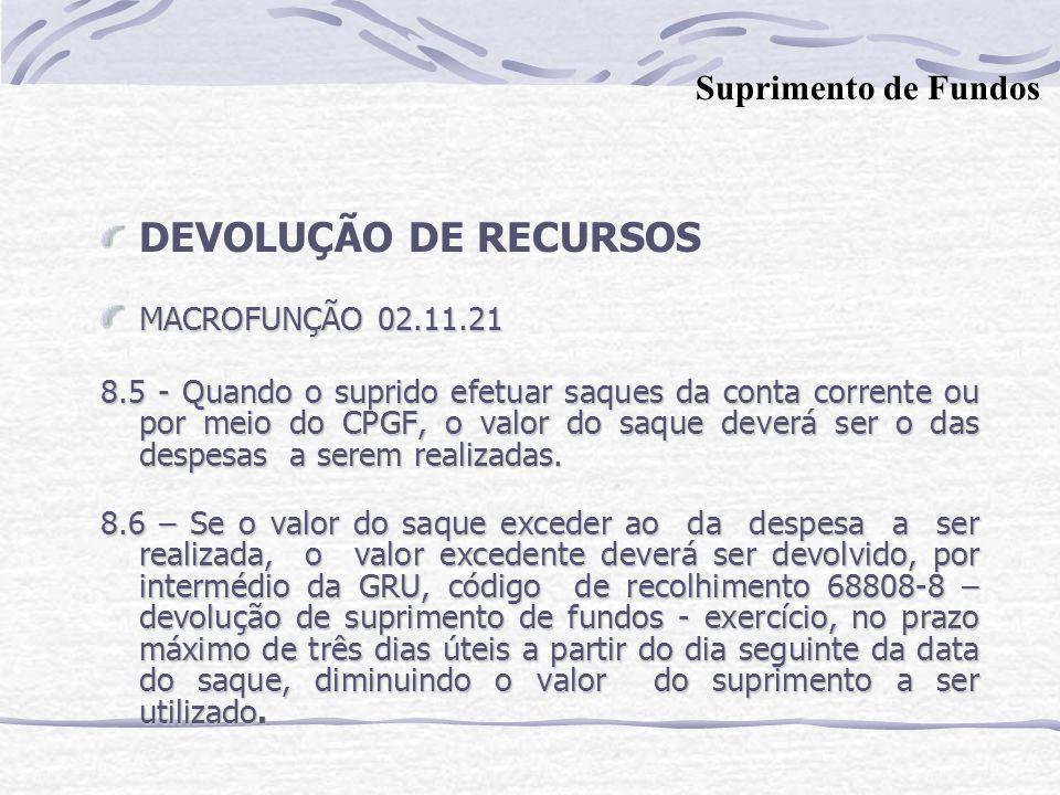 DEVOLUÇÃO DE RECURSOS MACROFUNÇÃO 02.11.21 8.5 - Quando o suprido efetuar saques da conta corrente ou por meio do CPGF, o valor do saque deverá ser o das despesas a serem realizadas.