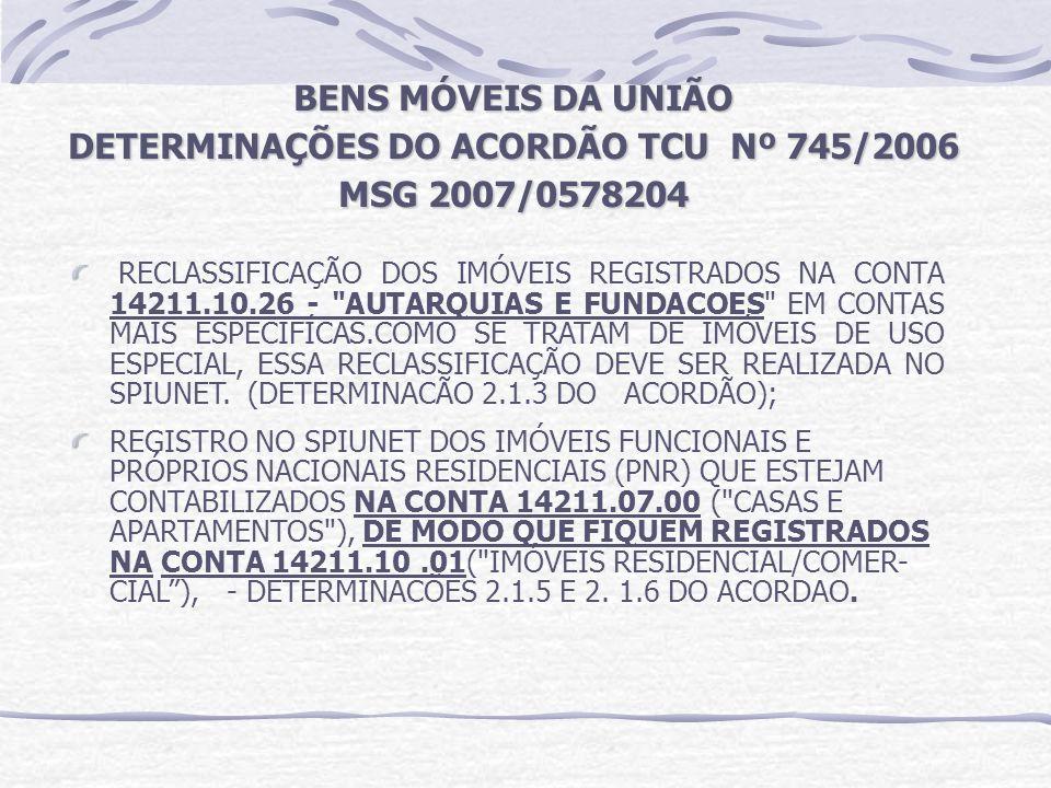 BENS MÓVEIS DA UNIÃO DETERMINAÇÕES DO ACORDÃO TCU Nº 745/2006 MSG 2007/0578204 RECLASSIFICAÇÃO DOS IMÓVEIS REGISTRADOS NA CONTA 14211.10.26 -