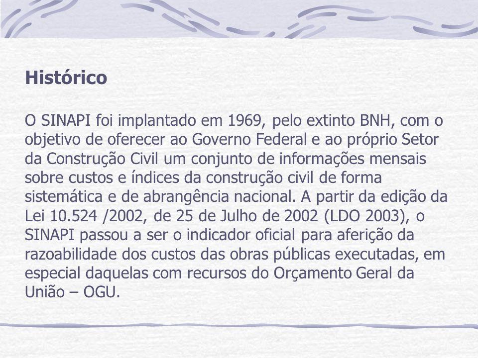 Histórico O SINAPI foi implantado em 1969, pelo extinto BNH, com o objetivo de oferecer ao Governo Federal e ao próprio Setor da Construção Civil um conjunto de informações mensais sobre custos e índices da construção civil de forma sistemática e de abrangência nacional.