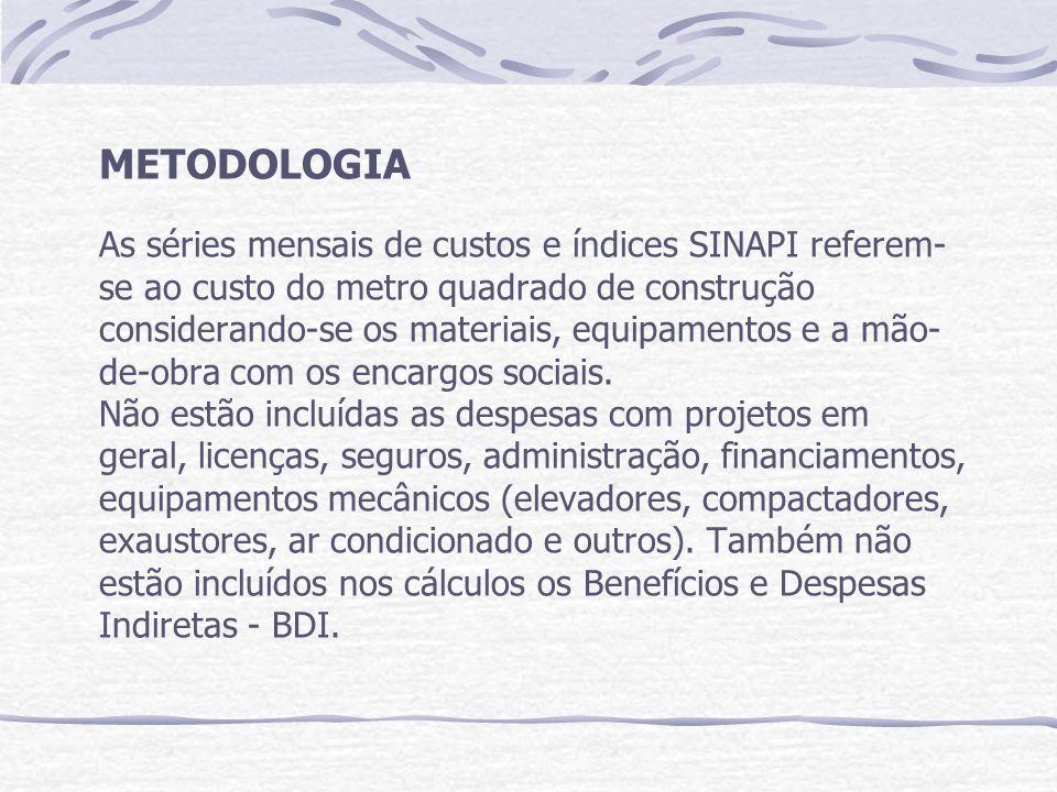 METODOLOGIA As séries mensais de custos e índices SINAPI referem- se ao custo do metro quadrado de construção considerando-se os materiais, equipamentos e a mão- de-obra com os encargos sociais.
