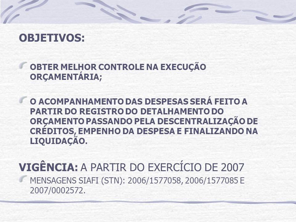 OBJETIVOS: OBTER MELHOR CONTROLE NA EXECUÇÃO ORÇAMENTÁRIA; O ACOMPANHAMENTO DAS DESPESAS SERÁ FEITO A PARTIR DO REGISTRO DO DETALHAMENTO DO ORÇAMENTO PASSANDO PELA DESCENTRALIZAÇÃO DE CRÉDITOS, EMPENHO DA DESPESA E FINALIZANDO NA LIQUIDAÇÃO.